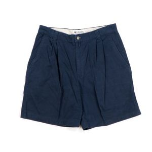 Vintage Columbia Pleated Cotton Chino Shorts Navy
